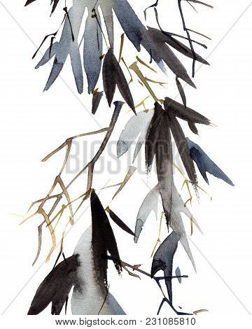 Watercolor And Ink Illustration Of Bamboo Leaves. Oriental Traditional Painting In Style Sumi-e, U-s