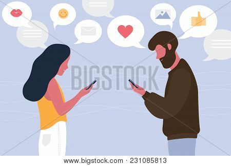 Man And Woman Chatting Online On Their Smartphones. Young Couple Sending Messages To Each Other. Con