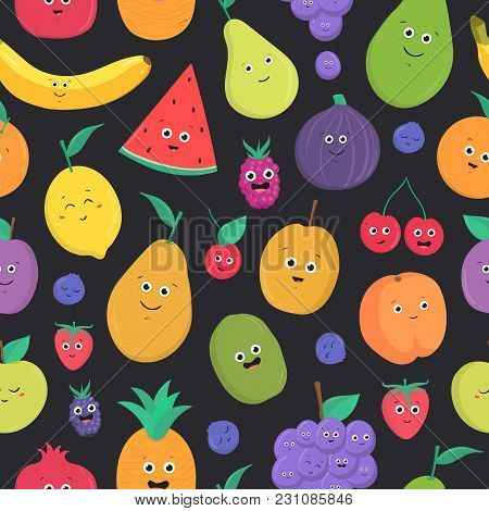 Bright Colored Seamless Pattern With Cute Fresh Exotic Tropical Fruits And Berries With Happy Smilin