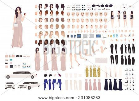 Elegant Woman Dressed Evening Prom Clothing Creation Set Or Diy Kit. Collection Of Body Parts, Facia
