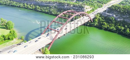 Aerial View Pennybacker Bridge Or 360 Bridge In Austin, Texas, Usa