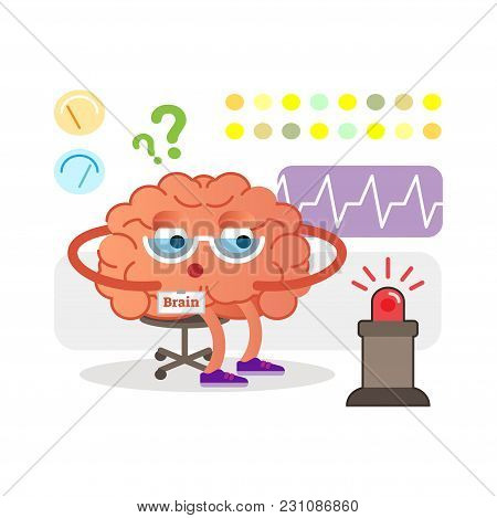 Conceptual Brain Cartoon Character Monitoring And Receiving Signals. Health Care And Medicine Concep