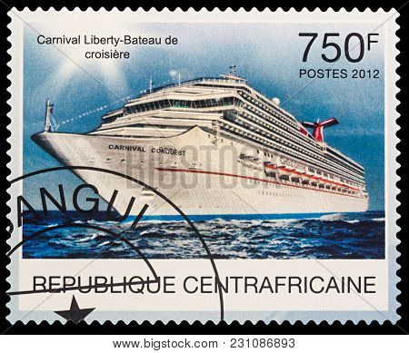 Moscow, Russia - March 14, 2018: A Stamp Printed In Central African Republic Shows Modern Cruise Lin