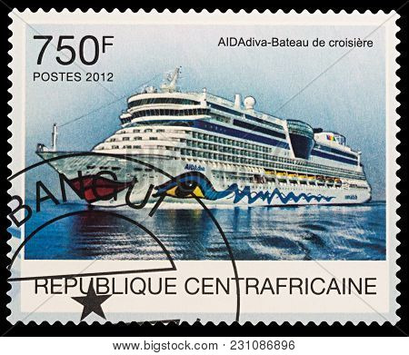 Moscow, Russia - March 14, 2018: A Stamp Printed In Central African Republic Shows Modern Cruise Shi