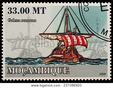 Moscow, Russia - March 14, 2018: A Stamp Printed In Mozambique Shows Ancient Roman Galley, Series