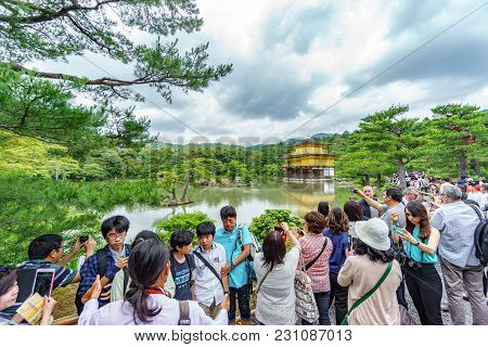 Kyoto, Japan- June 7, 2015 : Kinkakuji Temple Golden Pavilion, The Popular Zen Buddhist Temple With