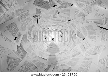 Businessman In The End Of Documents Tunnel