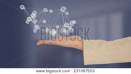Digital composite of Hand open with 3D connected at sign icons