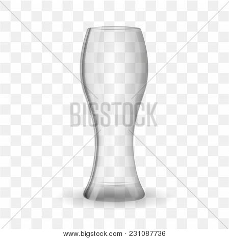 Empty Beer Glass Isolated On Transparent Effect Background. Vector Illustration.