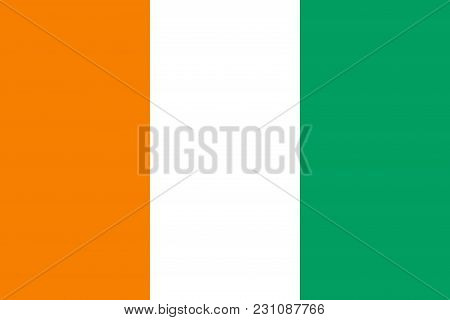 Flag In Colors Of Ivory Coast, Vector Image