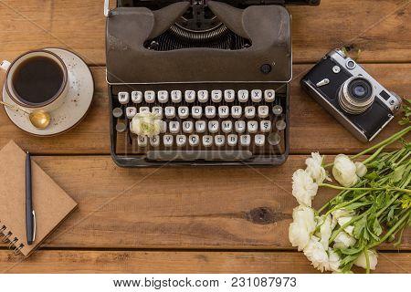 Writer Flatlay. Retro Typewriter, Vintage Film Camera, Coffee, N