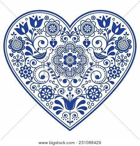Folk Art Flowers, Seamless Vector Floral Pattern, Scandinavian Navy Blue Repetitive Design, Nordic O