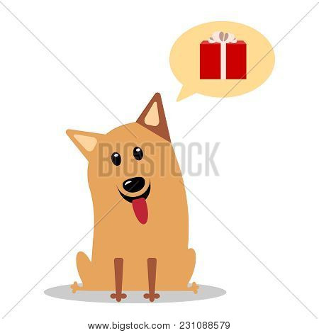 Corgi Thinks About Gift Illustration For The Holidays. Happy Red Dog With Gifts Of The Symbol Of 201
