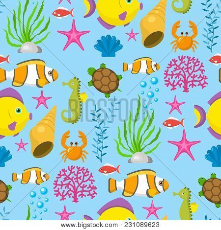 Aquatic Funny Sea Animals Underwater Creatures Cartoon Characters Shell Aquarium Seamless Pattern Ba