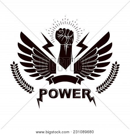 Winged Clenched Fists Of Angry People Vector Emblem. Power And Authority Conceptual Illustration, No