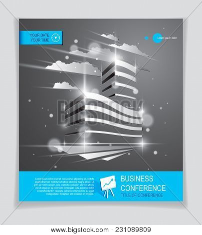 Futuristic Building Ad, Modern Vector Architecture Brochure With Blurred Lights And Glares Effect. R