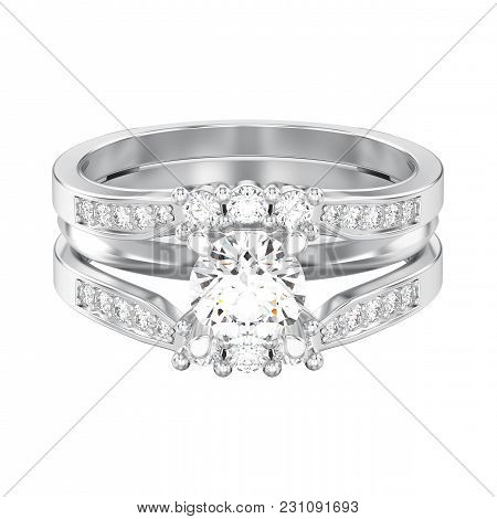 3d Illustration Isolated White Gold Or Silver Two Shanks Decorative Diamond Ring On A White Backgrou