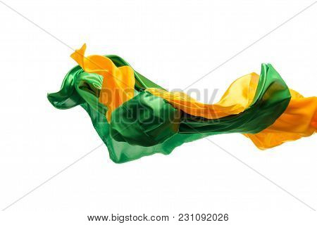 Smooth Elegant Transparent Yellow, Green Cloth Isolated Or Separated On White Studio Background. Tex