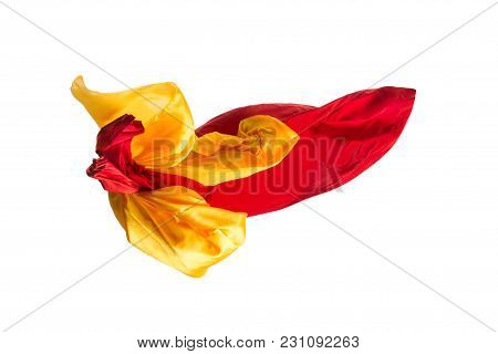 Smooth Elegant Transparent Yellow, Red, Cloth Isolated Or Separated On White Studio Background. Text