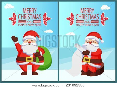 Merry Xmas And Happy New Year Postcard Santa Claus Reading Wishlist Sitting On Wooden Stump, Father
