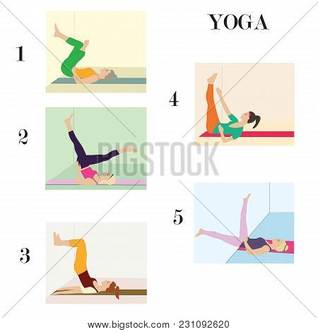 Women In Training Yoga Stretching Five Exercises On The Wall
