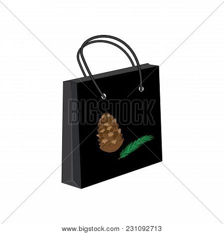 Gift Paper Bag Black Pine Cone Green Fir Branch Isolated White Background Vector Advertising Banner