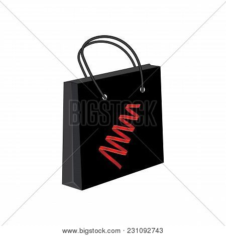 Gift Paper Bag Black Bright Red Streamers Isolated White Background Vector Advertising Banner