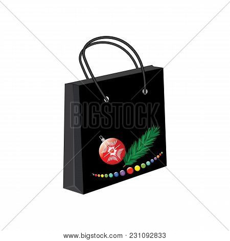 Paper Bag Gift Black Christmas Toys Isolated White Background Vector Advertising Banner