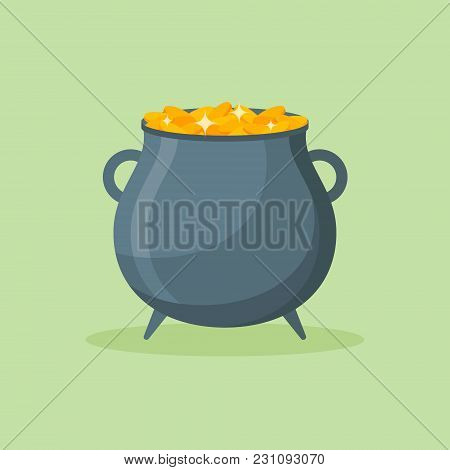 Pot Of Gold Coins Isolated On Green Background. Cauldron Flat Style Icon. Vector Illustration.