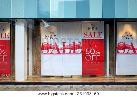 Bracknell, England - March 14, 2018: Banners Announcing A Sale In The Window Display Of The Marks &