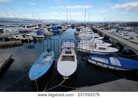 ICICI, CROATIA - MAY 25: Icici village harbor in Opatija riviera, Kvarner, Croatia, on May 25, 2017.