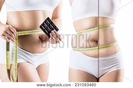 Woman With Chocolate Before And After Weight Loss Over White Background
