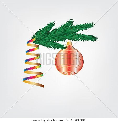 Festive Decoration Branch Ate A Brilliant Ball Of Rainbow Streamers Isolated On White Background Vec