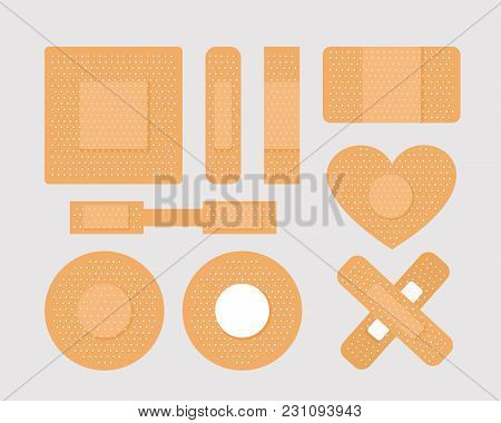 Vector Illustration Set Of First Aid Band Plaster Strips In Different Shapes, Medical Patch Icon Col