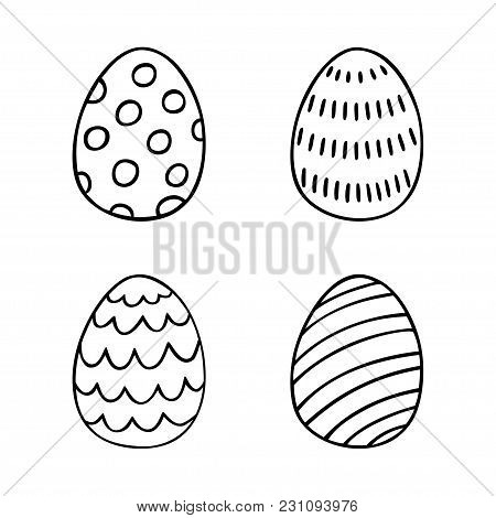 Hand Drawn Easter Eggs Set In Line Style. Perfect Vector Design Elements For Decorations Card, Holid