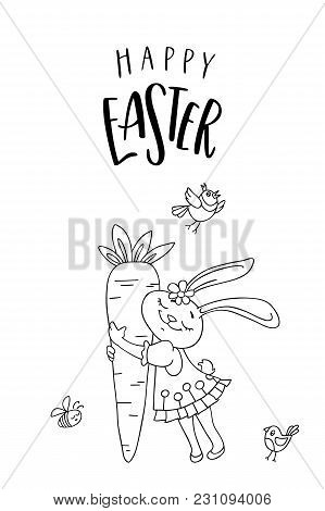 Happy Easter Greeting Card. Cute Rabbit Girl With Carrot, Bird And Handwritten Text. The Concept Of