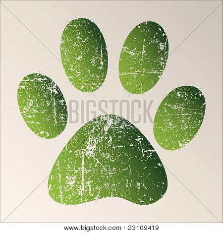 Print green paws on a white background. poster