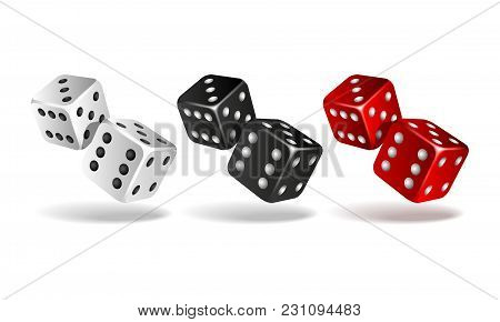 Set Of Falling Dice Isolated On White. Two White, Red And Black Dices. Casino Gambling Template Conc