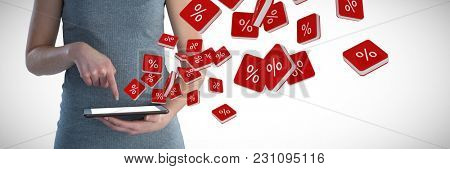 Mid section of smiling businesswoman with digital tablet against percent sign vector icon