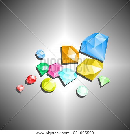 Diamonds. Flying Gemstones Of Different Sizes On Gray Background With Shadows. Abstract Background.