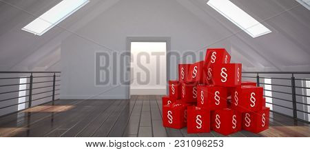 Vector icon of section symbol against white room with skylights Vector icon of section symbol on blocks