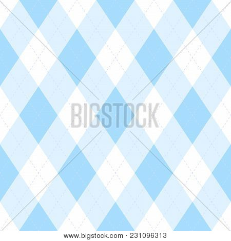 Light Blue Argyle Seamless Pattern Background.diamond Shapes With Dashed Lines. Simple Flat Vector I