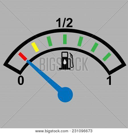 Car Dashboard Gauge Showing Fuel Level, Conceptual Vector