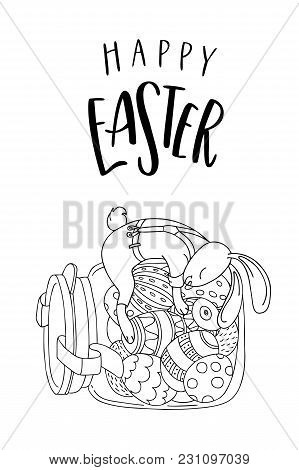 Happy Easter Greeting Card. Cute Rabbit On The Jar With Easter Eggs And Handwritten Text. The Concep