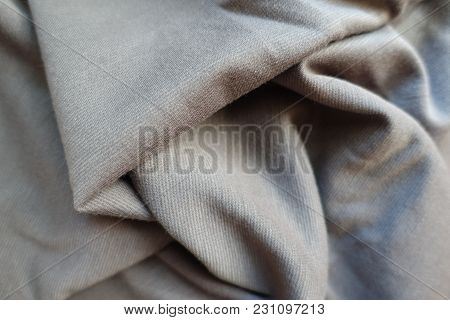 Crumpled Thin Simple Light Grey Jersey Fabric
