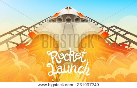 Rocket Launch. International Spaceship, Shuttle In Space, Bottom View. Technology And Science, Space