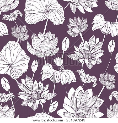 Romantic Seamless Pattern With Tender Blooming Lotus Hand Drawn With Contour Lines On Purple Backgro