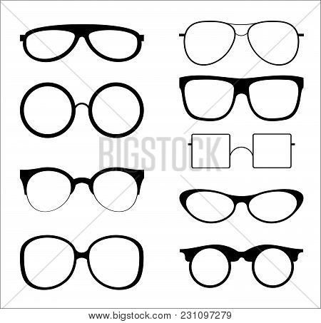 Vector Illustration Set Of Silhouettes Sunglasses Isolated On White Color Background. Glasses Model
