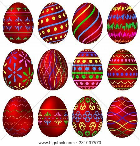 A Set Of Red Easter Eggs With Colorful Patterns. Vector Illustration