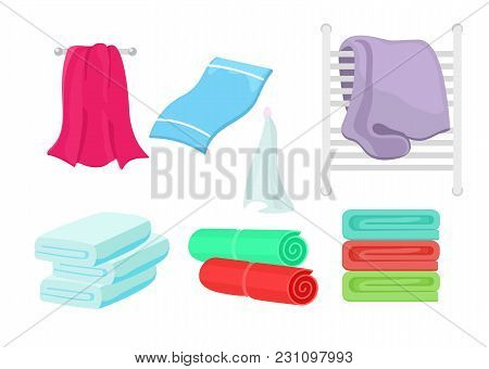 Vector Illustration Set Of Cartoon Colorful Towels. Collection Of Cloth Towel For Bath, Hygiene